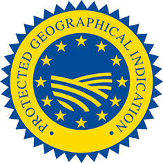 Blue and yellow protected geographical indication status badge